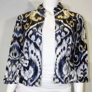 Blue Patterned Chico's Jacket - Women's Size Small